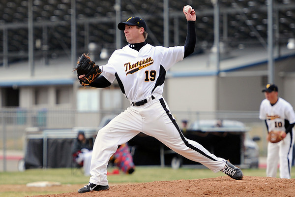 Thompson Valley High School's Teague McFadden throws a pitch in the top of the third inning of a game against Loveland on Tuesday, April 3, 2012 at Constantz Field.