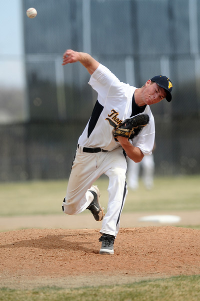 Thompson Valley High School's Cole Mueller throws a pitch in the top of the third inning of a game against Mountain View on Saturday, March 31, 2012 at Constantz Field.