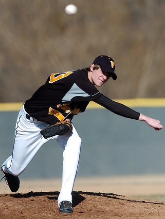 Thompson Valley High School sophomore Cole Muller throws a pitch in the bottom of the first inning of a game against Loveland on Tuesday, March 16, 2010 at Swift Field. Loveland won, 14-4, in the fifth inning.