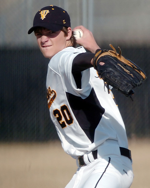 Thompson Valley High School sophomore Cole Muller throws a pitch during a game against Northridge on Tuesday, March 30, 2010 at Constanz Field. The Eagles lost, 19-11.