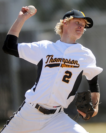 Thompson Valley High School senior Chris Sievers winds up before throwing a pitch in the top of the sixth inning of a game against Broomfield on Saturday, March 24, 2012 at Constantz Field.
