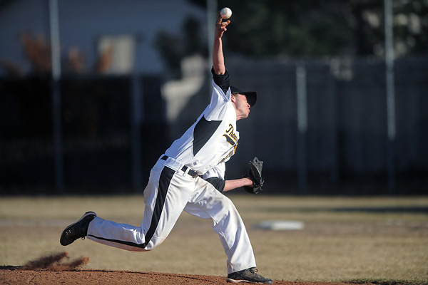 Thompson Valley High School's Drew Meintzer throws a pitch in the top of the sixth inning of a game against Silver Creek on Thursday, March 15, 2012 at Constantz Field.