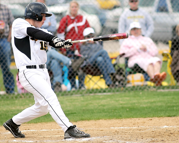 Thompson Valley High School senior Jonathan Lumpkin takes a swing at the plate during a game against Berthoud on Saturday, May 1, 2010 at Constantz Field. The Eagles won in five innings, 12-2.
