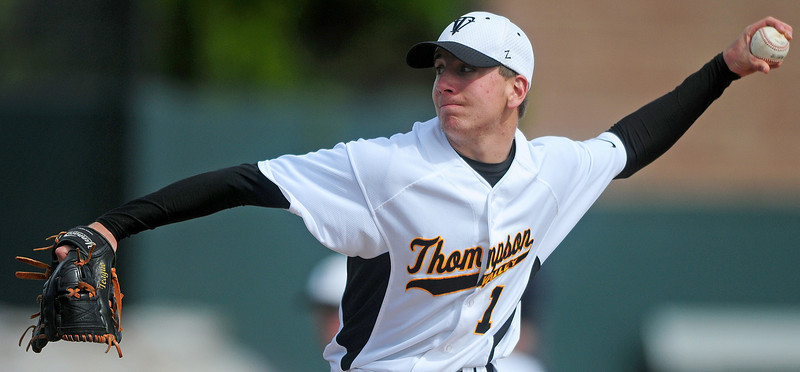 Starting pitcher Teague McFadden (1) throws the ball Saturday morning at All Star Field in Lakewood.