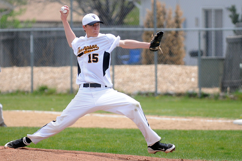 Thompson Valley High School junnior Cole Mueller throws a pitch during a game against Mountain View on Saturday, May 7, 2011 at Constantz Field.