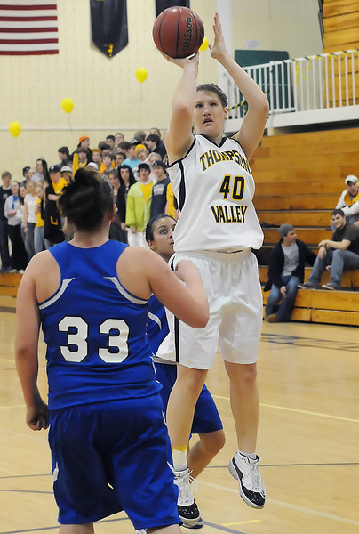 Thompson Valley High School junior Jordan Sibrel takes a shot in the second quarter of a playoff game against Alameda on Tuesday, Feb. 23, 2010 at TVHS.
