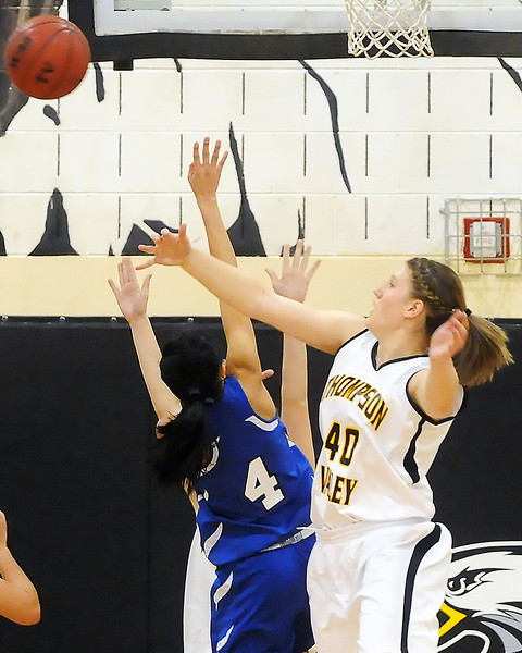Thompson Valley High School junior Jordan Sibrel blocks a shot attempt by Alameda's Marissa Takahashi in the second quarter of their playoff game Tuesday, Feb. 23, 2010 at TVHS.