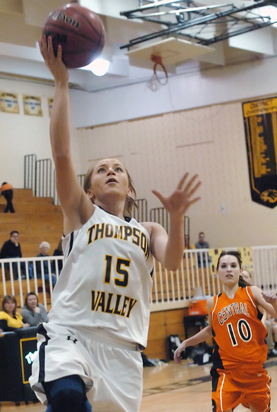 Thompson Valley High School junnior Kenzie Archer goes up for a shot during a game against Greeley Central on Thursday, Jan. 28, 2010 at TVHS.