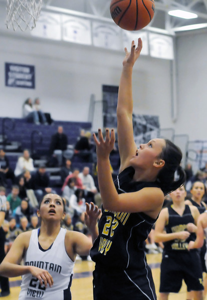 Thompson Valley High School senior Brooke Podtburg, right, puts up a shot in front of Mountain View's Nekeshia Gonzales in the second quarter of their game Tuesday at MVHS.
