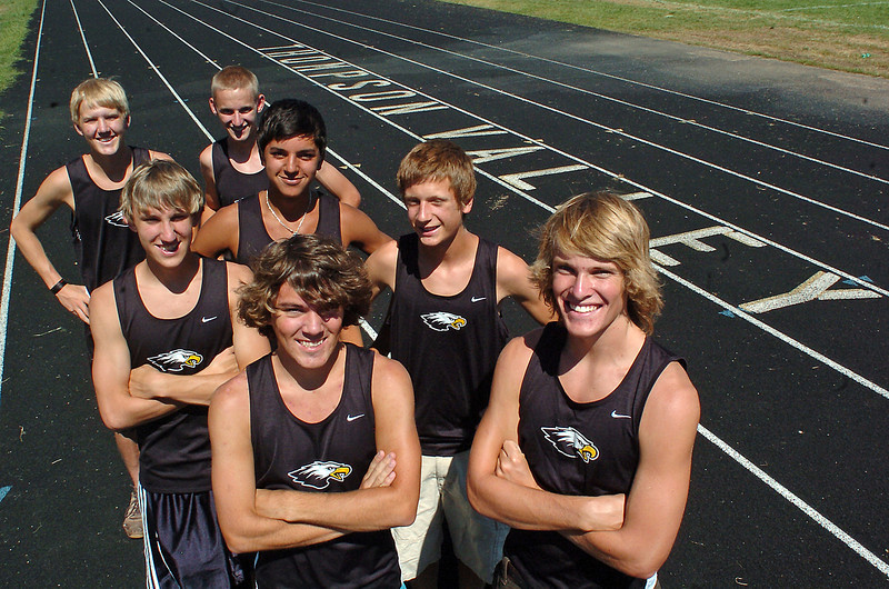 Members of Thompson Valley High School's cross country team include, front from left, Jeff Seligman and Ben Williamson, middle from left, Austin Schempp, Daniel Lara and Michael McKenna, and back from left, Gus Waneka and Kevin Baldwin.