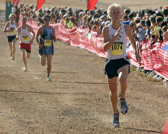 Thompson Valley High School's Gus Waneka runs in a class 4A State Cross Country Championship at the Arapahoe County Fairgrounds on Oct. 30 in Aurora. (Heather A. Longway/ The Reporter-Herald)