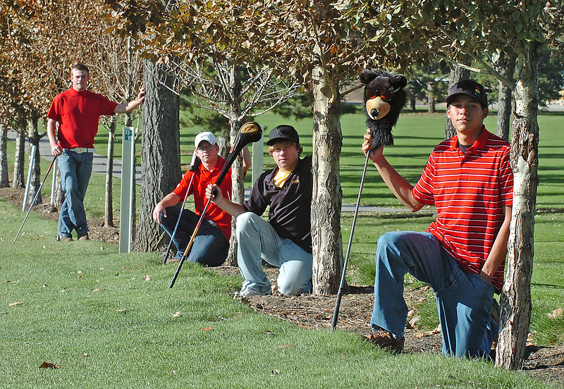 The all area golf team poses for a portrait at The Olde Course in Loveland on Wednesday. From left to right are Clayton Tanton, Tanner Swayne, Josh McLaughlin, and Dario Ortega.