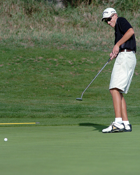Thompson Valley High School's Zack Dwyer reacts after his putt on No. 10 at Mariana Butte Golf Course on Sept. 15, 2010 during a Northern Conference meet.