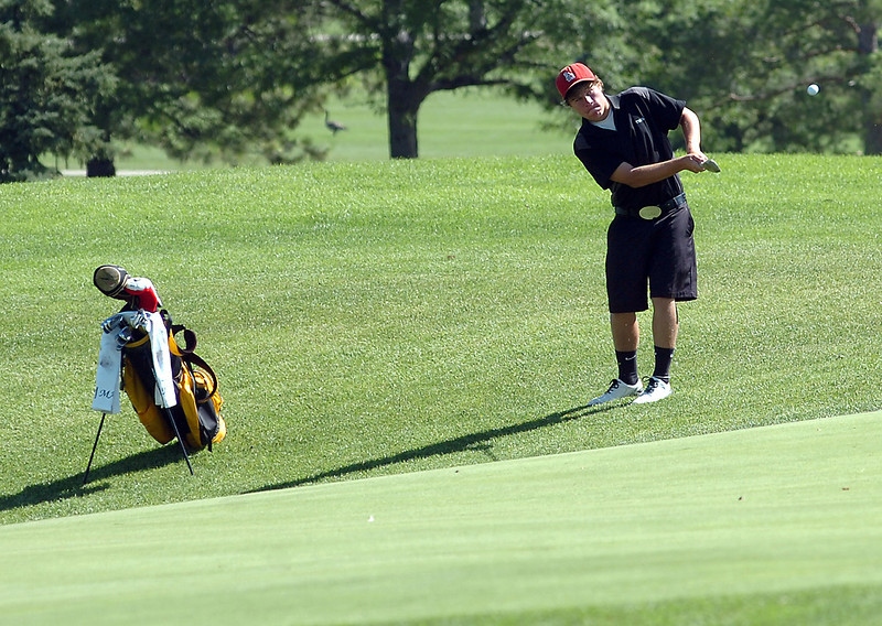 Thompson Valley's Josh McLaughlin golfs at the Olde Course in Loveland Wednesday.