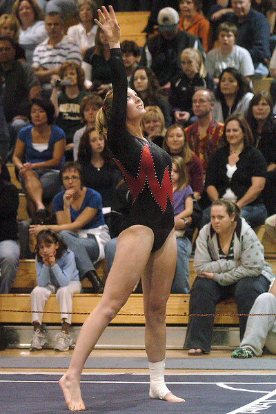 Thompson Valley High School's Ashleigh Waterland performs her floor routine during the individual finals of the Class 5A State Gymnastics Championships on Saturday, Nov. 7, 2009 at Thornton High School.