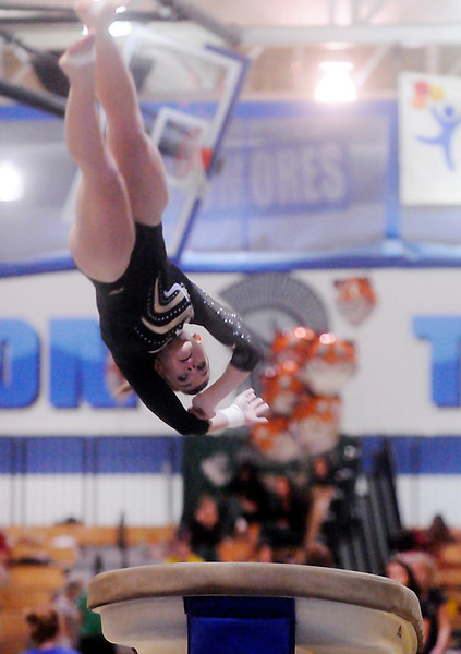 Thompson Valley High School's Sam Rasico completes a vault during the state finals on Saturday afternoon at Thornton High School. The Eagles took third overall as a team.