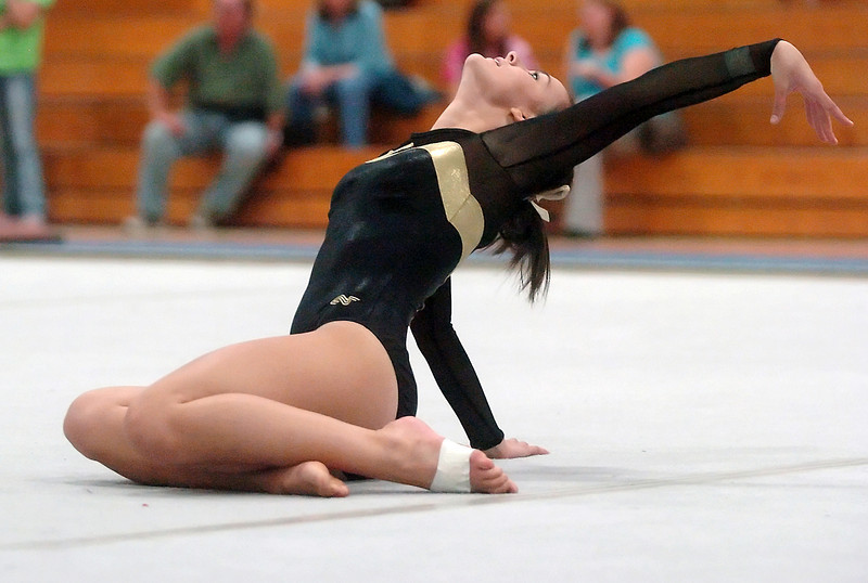 Thompson Valley High School's Sam Rasico performs her floor routine during a gymnastic meet Friday, Sept. 10, 2010 at Loveland High School.