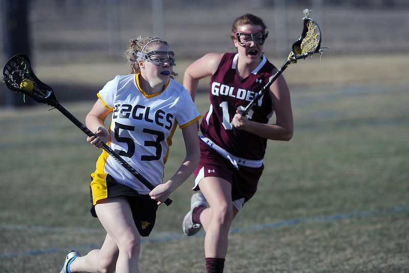 Thompson Valley High School's Rachyl Reger, left, runs upfield away from Golden's Charlotte Wolf in the first half of their game Wednesday, March 14, 2012 at Patterson Stadium.