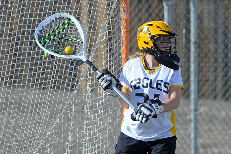 Thompson Valley High School goalie Molly Reger looks for an open teammate after making a save in the first half of a game against Golden on Wednesday, March 14, 2012 at Patterson Stadium.
