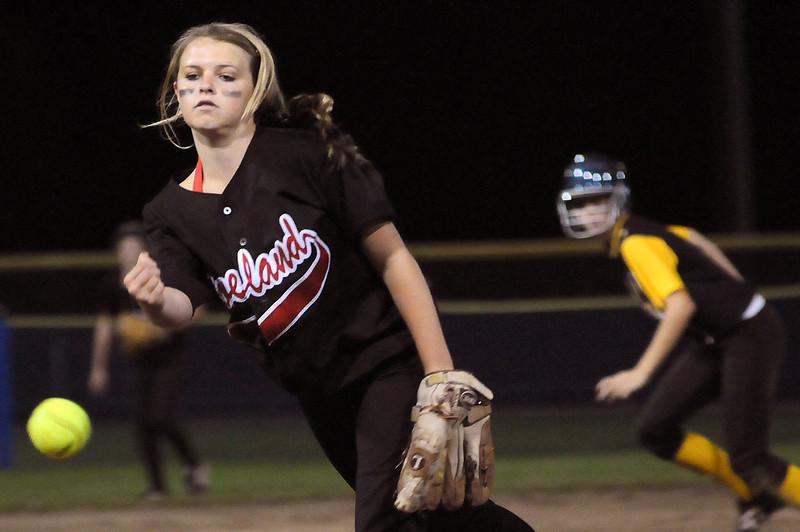 Loveland High School freshman Bradey King pitches against Thompson Valley High School Monday night at Centennial Field.