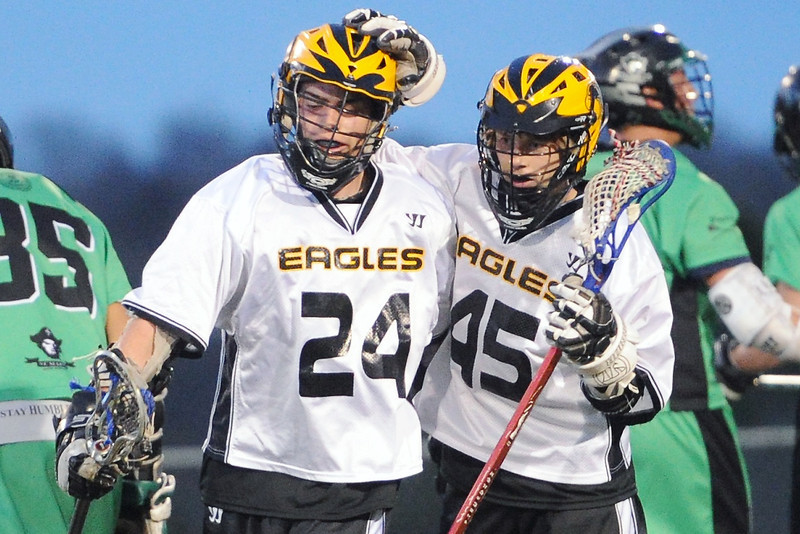 Thompson Valley High School's Tanner Knaus (24) is congratulated by teammate Kale Wilson (45) after scoring a goal in the third quarter of a game against St. Mary's on Tuesday, May 7, 2013 at Patterson Stadium.