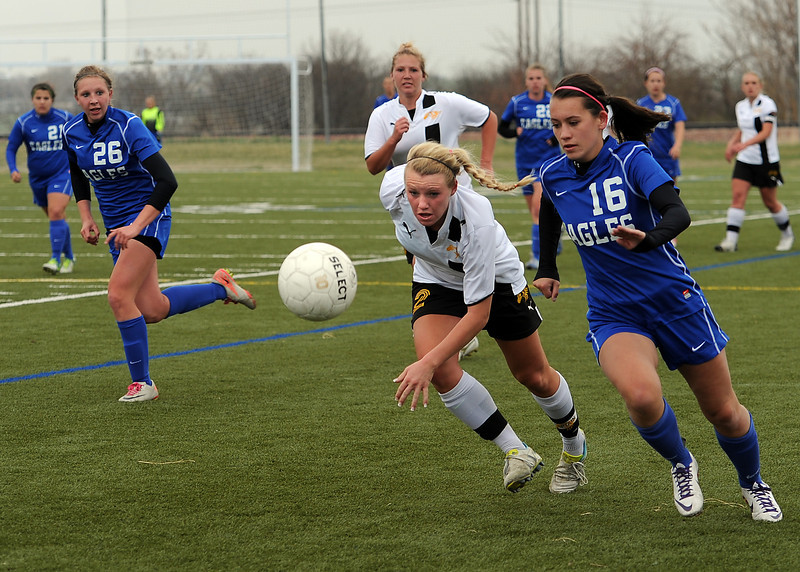 Thompson Valley High School soccer player #2 Jordin Campbell, left, and Broomfield's #16 Brooke Quinn during their game at the Loveland Sports Park on Tuesday, April 30, 2013.