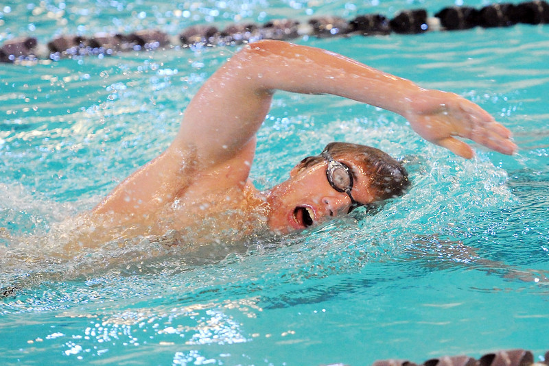 Thompson Valley High School's Alex Austin swims in the 500-yard freestyle during the City Meet on Wednesday, April 24, 2103 at the Mountain View Aquatic Center. (Photo by Steve Stoner)