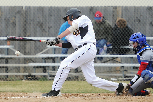Thompson Valley High School junior Jesse Shaw hits a single in the bottom of the second inning of a game against Centaurus on Thursday, April 11, 2013 at Constantz Field.