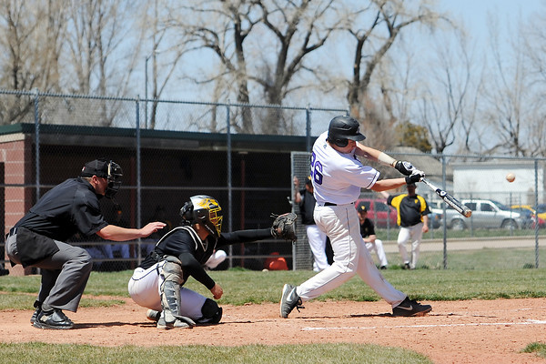 Mountain View High School's Dakotah Shea-Shelley hits a double in front of Thompson Valley catcher DJ Grine in the bottom of the fifth inning of their game Saturday, April 27, 2013 at Brock Field.