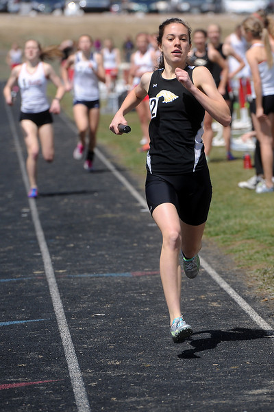 Thompson Valley High School sophomore Kendra Larson heads for the finish line while anchoring a heat of the 3200-meter relay during the R2J Invitational meet on Wednesday, April 24, 2013 at Loveland High School.