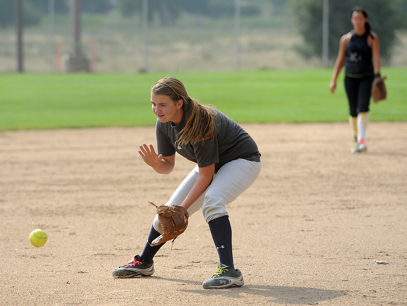 Thompson Valley High School softball pitcher Kinsley Mason during practice on Monday.