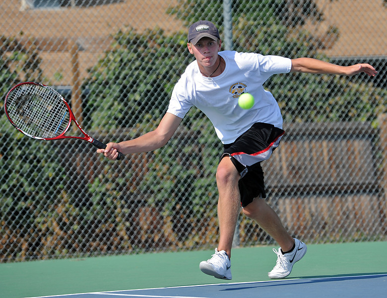 Thompson Valley High School's Tyler Miller during a match against Mountain View Tuesday, August 22, 2012 in Loveland.