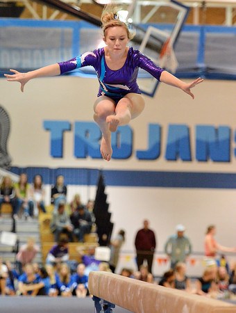 bent1104TVgymindividual420.JPG Thompson Valley's Savannah Carlson performs on the beam during the state individual gymnastics competition at Thornton High School on Saturday.<br /> <br /> November 3, 2012<br /> staff photo/ David R. Jennings