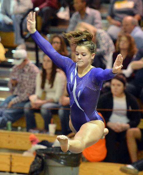 bent1104TVgymindividual422.JPG Thompson Valley's Kelsey Vreeman performs her floor routine during the state individual gymnastics competition at Thornton High School on Saturday.<br /> <br /> November 3, 2012<br /> staff photo/ David R. Jennings