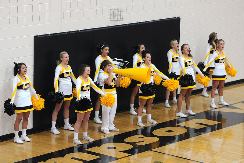 Thompson Valley High School cheerleaders perform during the Class 4A Region 6 volleyball tournament on Saturday, Nov. 3, 2012 at TVHS.