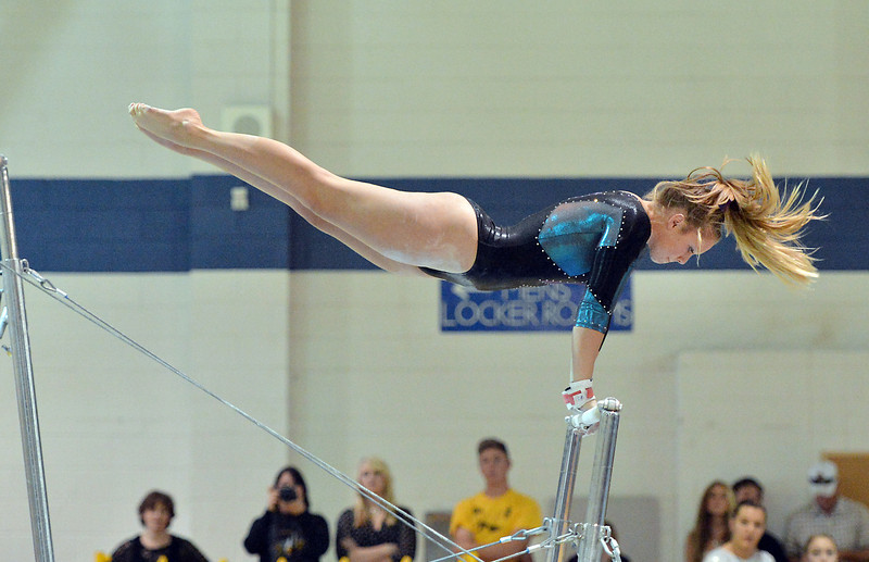 bent1104TVgymindividual426.JPG Thompson Valley's Erin Chavet performson the uneven parallel bars during the state individual gymnastics competition at Thornton High School on Saturday.<br /> <br /> November 3, 2012<br /> staff photo/ David R. Jennings
