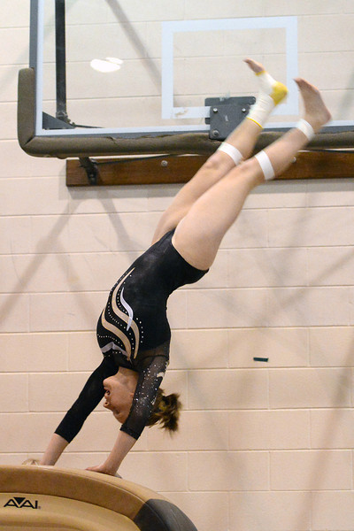 Thompson Valley High School's Shaina Burton performs a vault during a dual meet against Loveland on Tuesday, Oct. 2, 2012 at LHS.