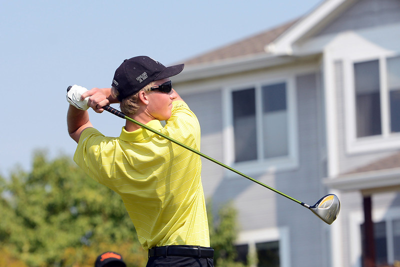 Thompson Valley High School senior Zack Dwyer watches his drive off  the No. 11 tee box during the Class 4A Northern Regional Golf tournament on Wednesday, Sept. 19, 2012 at Indian Peaks Golf Course in Lafayette.