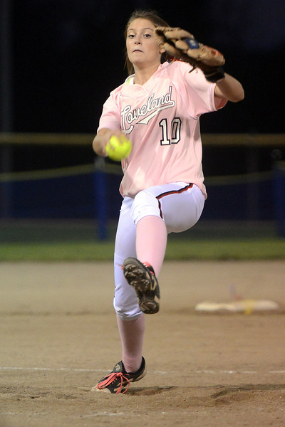 Loveland High School's Cassidy Smith winds up before throwing a pitch during a game against Thompson Valley on Friday, Sept. 21, 2012 at Centennial Park.
