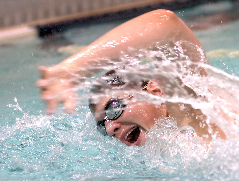 Thompson Valley's Cameron Romo swims the 500 freestyle Tuesday.