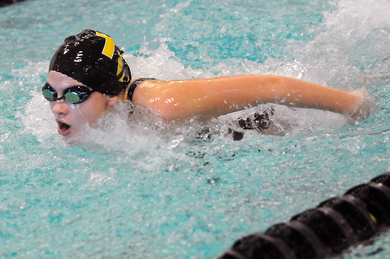Thompson Valley High School sophomore Jessi Modlich swims in the 200-yard medley during the City Meet on Wednesday at the Mountain View Aquatic Center.