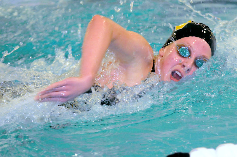 Thompson Valley High School junior Nicole Hlavacek swims in the 500-yard freestyle final during the City Meet on Wednesday at the Mountain View Aquatic Center.