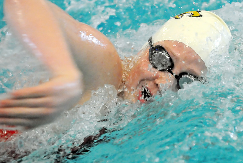 Thompson Valley High School freshman Sydnee King swims in a heat of the 200-yard freestyle during the Class 4A State Swim and Dive Championships at the Mountian View Aquatic Center on Friday.
