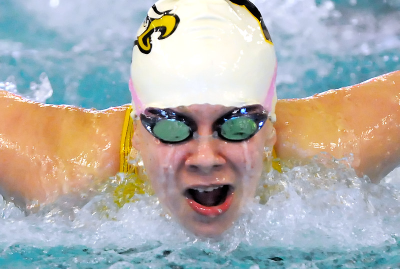 Thompson Valley High School's Sam Moss swims in the 100-yard butterfly finals during the Class 4A State Championships on Saturday, Feb. 13, 2010 at the Mountain View Aquatic Center.