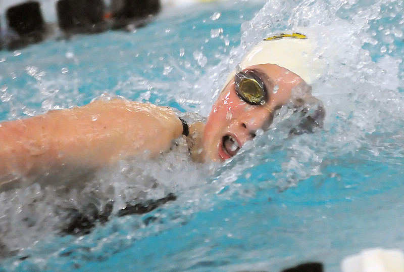 Thompson Valley High School freshman Rhianna Williams swims in a heat of the 100-yard freestyle during the Class 4A State Swim and Dive Championships at the Mountain View Aquatic Center on Friday.