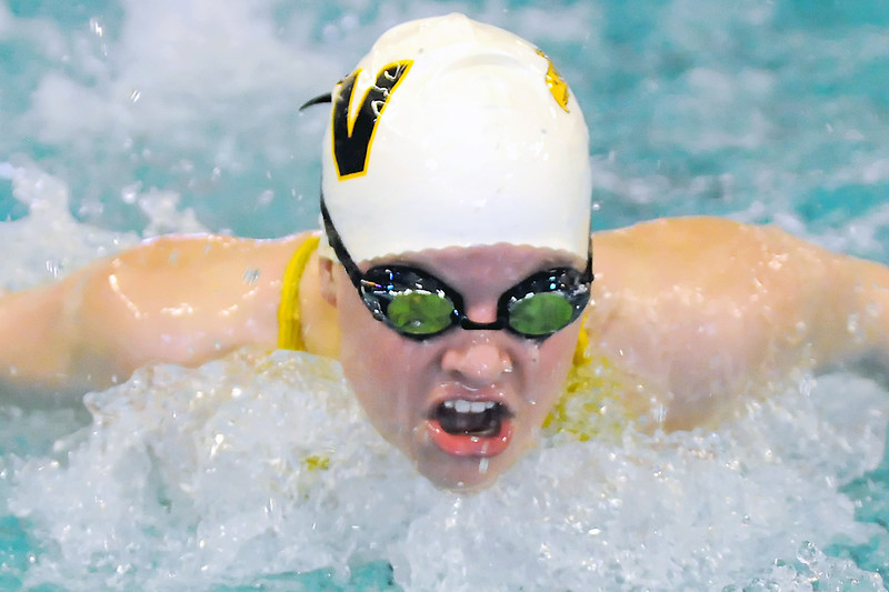 Thompson Valley High School sophomore Alyssa Eidem swims in the 100-yard butterfly final Saturday during the Northern League Conference Championships at the Mountain View Aquatic Center.
