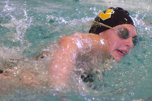Thompson Valley High School's Jessie Pfauth swims a leg of the 400-yard freestyle relay Saturday during the Mountain View Invite at the Mountain View Aquatic Center.