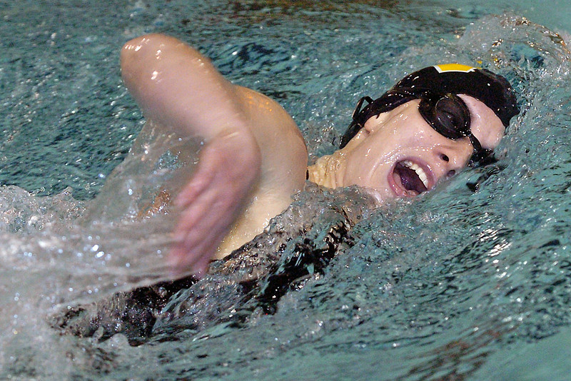 Thompson Valley High School's Jesslyn Mitchell swims in the 500-yard freestyle during a dual meet against Broomfield on Thursday at the Hewson Aquatic Center.