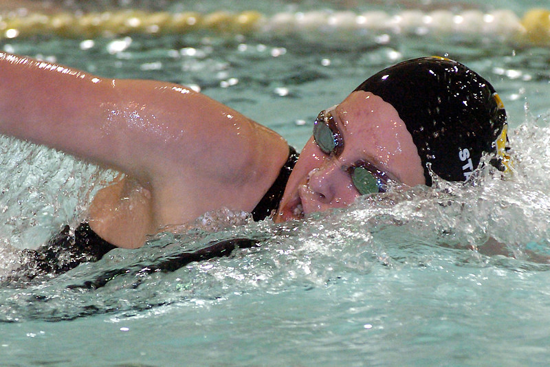 Thompson Valley High School sophomore Nicole Hlavacek swims in the 500-yard freestyle during a dual meet against Broomfield on Thursday at the Hewson Aquatic Center.