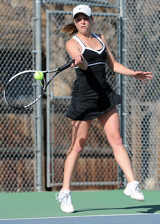 Hannah Gregory, Thompson Valley tennis player, during a match Thursday against Mountain View at Thompson Valley High School. Photo by Jenny Sparks